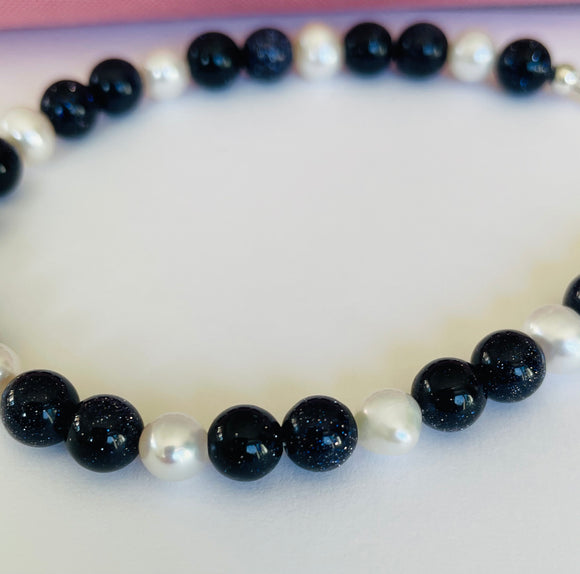 Blue Goldstone and Pearl Bracelet, natural gemstones and silver