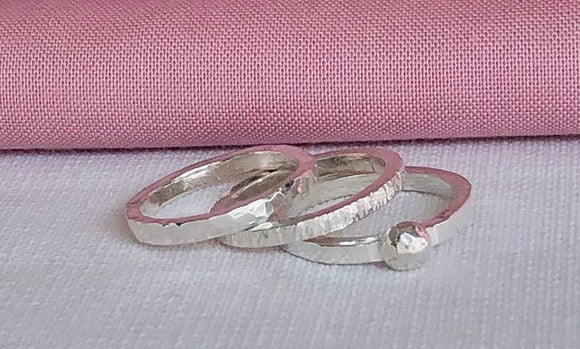 Silver Friends Rings (Set of 3)