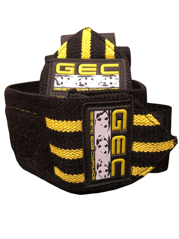 GEC BLACK/YELLOW LIFTING WRIST STRAPS