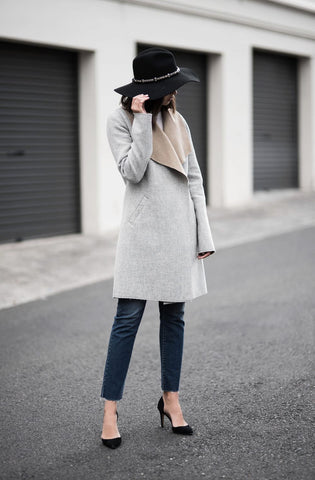 winter outfit grey coat