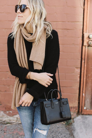 winter outfit beige scarf