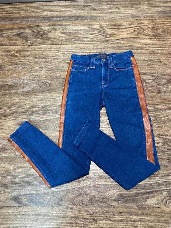 7 for all mankind blue skinny jeans with brown pleather stripe - Hers XXS/23