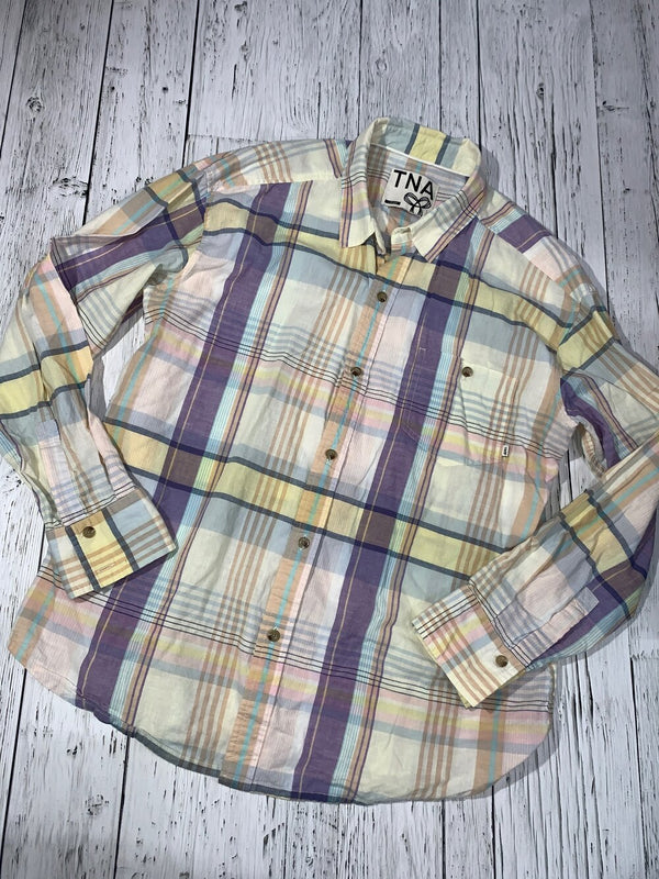 TNA purple/yellow/orange plaid button up shirt - Hers L