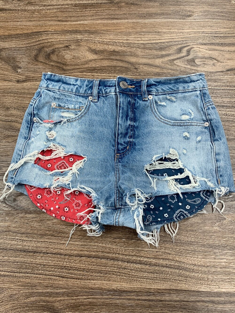 Garage blue distressed jean shorts with bandanna pockets- Hers S/5
