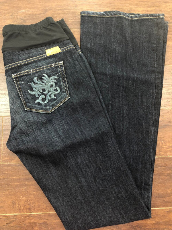 Paige wide leg jeans with embroidered back pockets ladies size 28