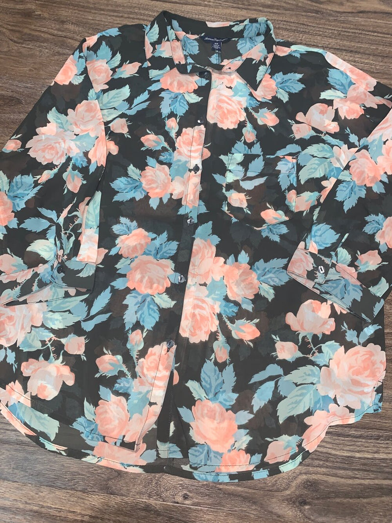 American Eagle pink and blue floral sheer button up top - Hers M