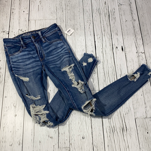 American Eagle blue distressed jeans - Hers XXS/00