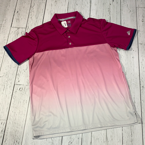 Adidas pink/white golf polo - His L