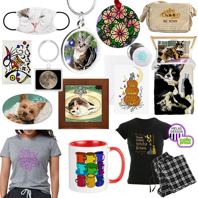 Melasdesign on CafePress - Print-to-order gifts with art by Susan Hicks. Popular for t-shirts, pajamas, stickers, mugs, buttons, bags, bedding, picture tiles, stationery, and more.