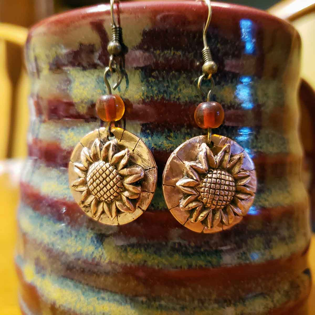 flower jewelry; copper earrings; sunflowers; earrings; fall colors; jewelry