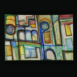 original art postcards; abstract painting; opera house; Melasdesign Handmade Shop; one of a kind