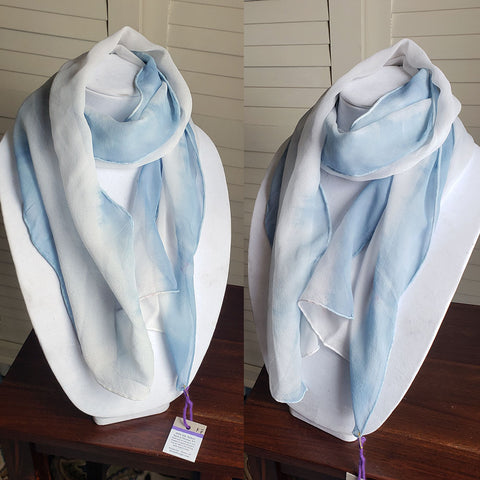 Blue Double Ombre Scarf; hand dyed; silk fashion; Melasdesign Handmade Shop
