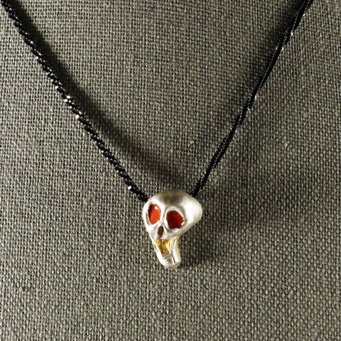 Fine Screaming Skull Necklace; fine gothic jewelry; handmade gothic necklace; silver gothic jewelry; Susan Hicks jewelry