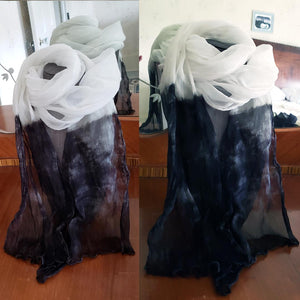 black white; silk fashion; scarf; romantic; hand dyed; Melasdesign; accessories