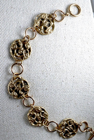 Bronze Frieze Bracelet; Handmade Bronze jewelry; Openwork Coin Bracelet; Vintage Pattern Bracelet; West Virginia jewelry design; Melasdesign Handmade Shop; fancy link bracelet; for sale by artist; designer Susan Hicks