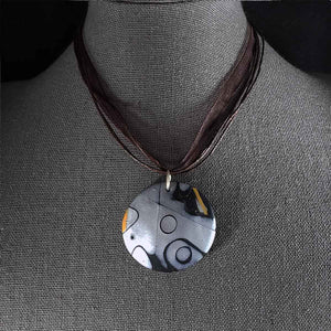 Bubbles on Ice Necklace; abstract art jewelry; one of a kind; round pendant; Melasdesign Handmade Shop