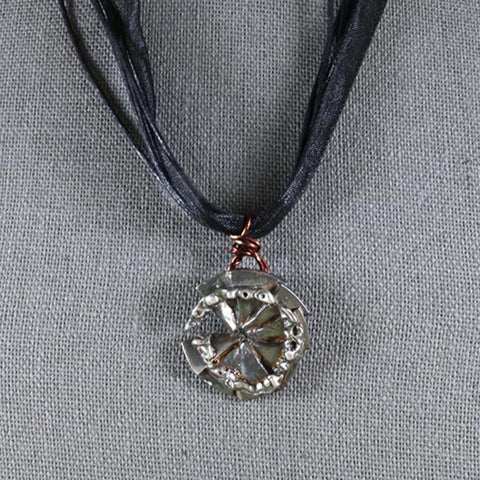 Pi Necklace - inspired by Pi Day - March 14 - Handmade pie disc shaped one of a kind fine silver pendant with multi-strand ribbon necklace for sale by artist Susan Hicks Melasdesign Handmade Shop - food jewelry, math jewelry