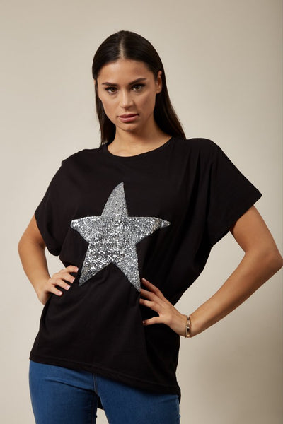 Hoxton Gal Sequin Star Top Relaxed Fit In Black