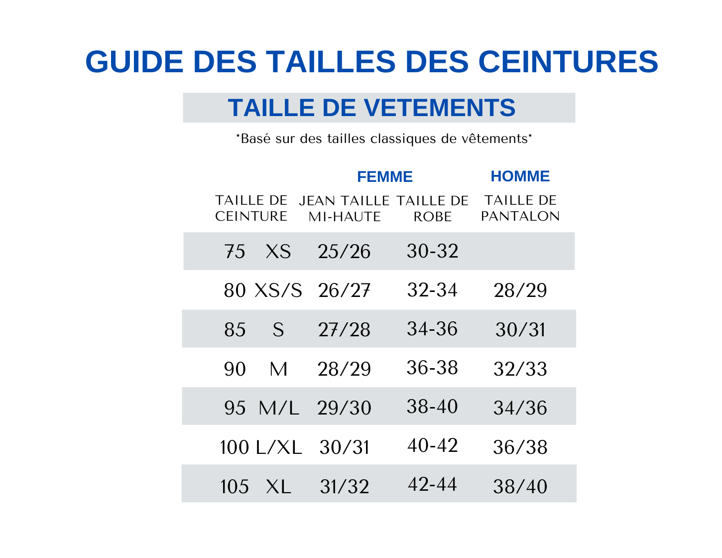 AMSTERDAM HERITAGE FRENCH SIZE CHART
