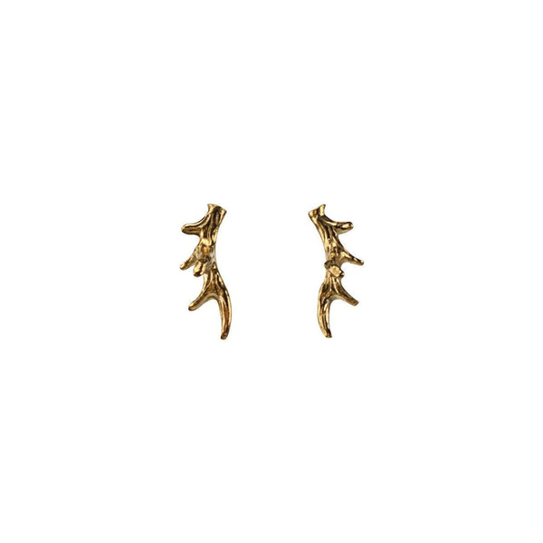Antler Stud Earring with 24K Gold Vermeil Earrings Mimi + Marge Jewellery