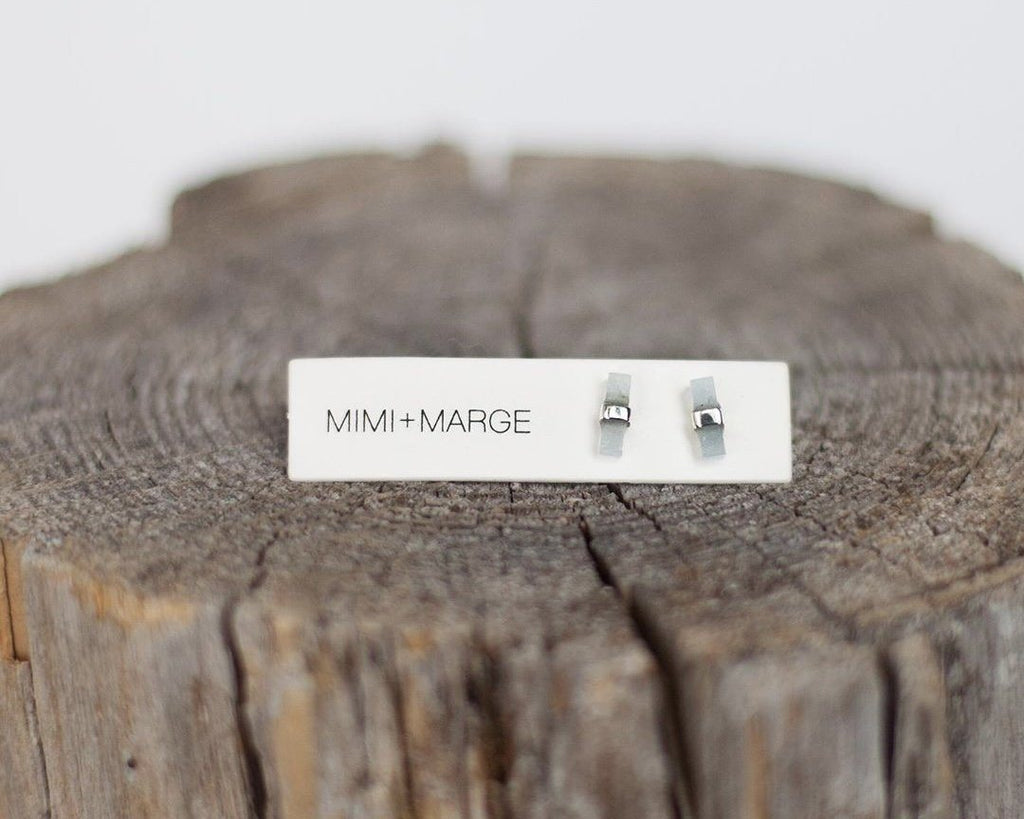 Aquamarine with Silver Wrap Stud Earrings Earrings Mimi + Marge Jewellery