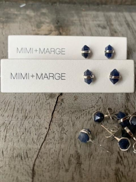 Blue Sapphire with Silver Wrap Earrings Earrings Mimi + Marge Jewellery