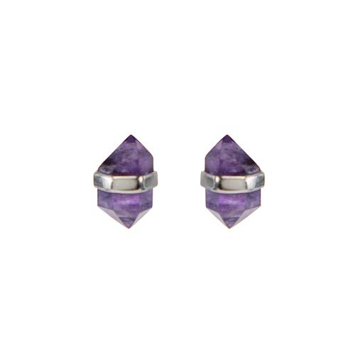 Faceted Amethyst with Silver Wrap Earrings Earrings Mimi + Marge Jewellery