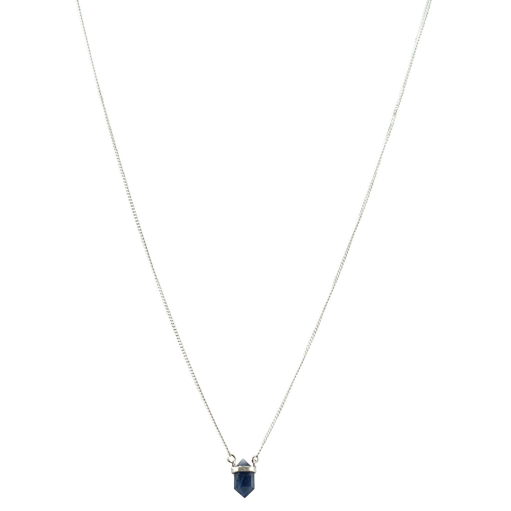 Faceted Blue Sapphire with Silver Wrap Necklace Necklaces Mimi + Marge Jewellery