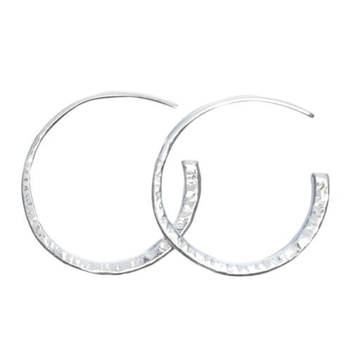 Hand Hammered Pull Through Hoops Earrings Mimi + Marge Jewellery