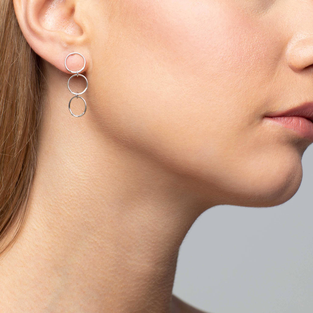 Hand Hammered Triple Drop Earrings Mimi + Marge Jewellery