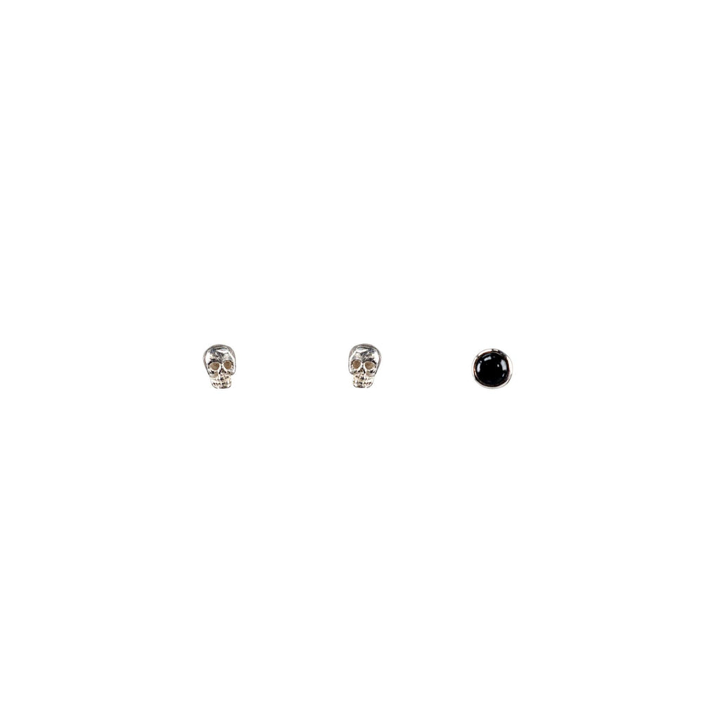 Mix + Match Studs - Skull Pair + Small Cabochon Onyx Earrings Mimi + Marge Jewellery