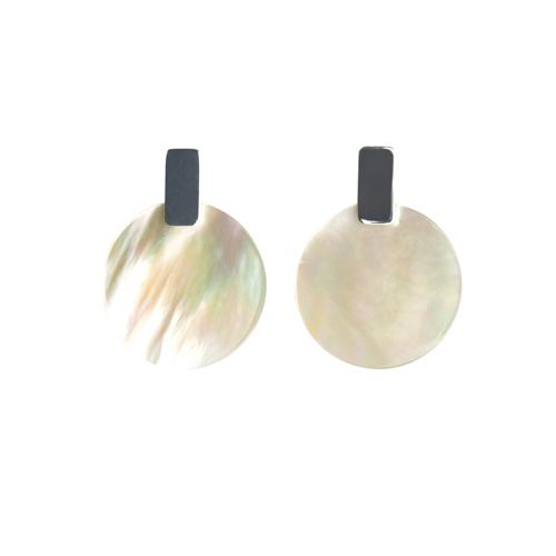 Mother of Pearl Circle with Silver ( Larger version ) Earrings Mimi + Marge Jewellery