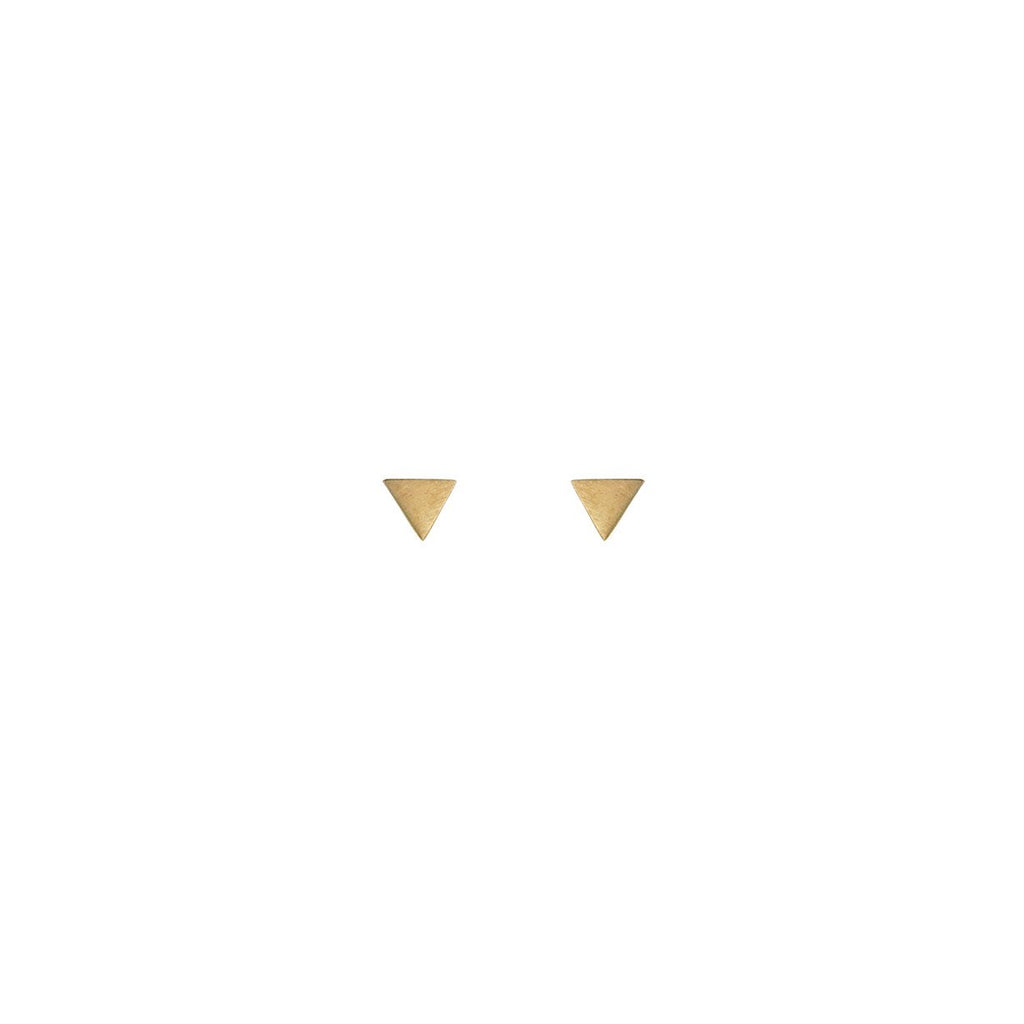 Triangle Matte Stud Earrings with 24K Gold Vermeil Earrings Mimi + Marge Jewellery