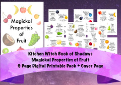 Magickal Properties of Fruit Kitchen Witch Digital Printables 10 Pages Book of Shadows Grimoire
