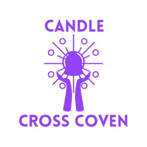 Candle Cross Coven Logo with Hands Cradling a Crystal Ball