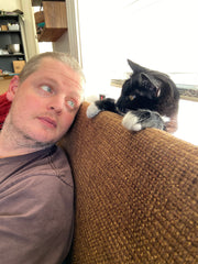 Pat and our cat Grace Kelly at Candle Cross Coven