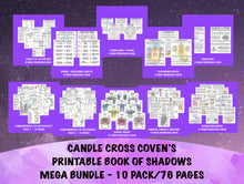 Load image into Gallery viewer, Printable Book of Shadows Mega Bundle Set of 10 Pack/76 Pages Baby Witch Beginner Witch Witchcraft Pendulums Zodiac Runes Cleansing Stars