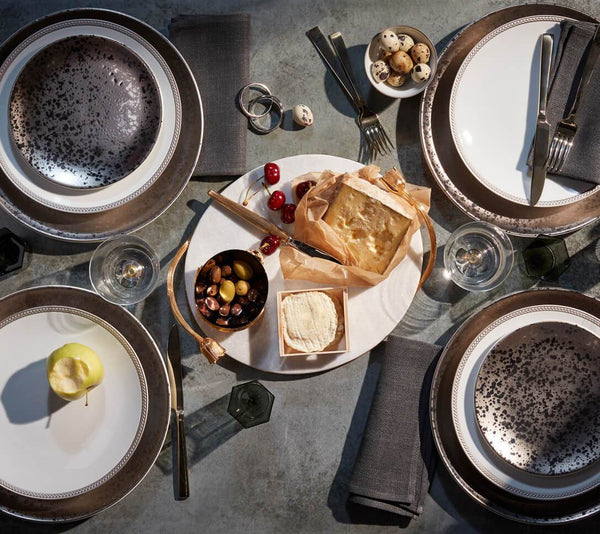 Tabletop set with platinum Soie Tresse and Alchimie dinnerware abd Deco Leaves cheese plate.