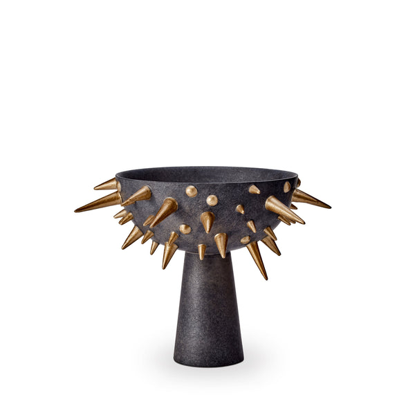 Small Celestial Bowl on Stand in Black and Gold - Earthenware Bowl and Stand with Gold Details - Modern and Evocative Aesthetic