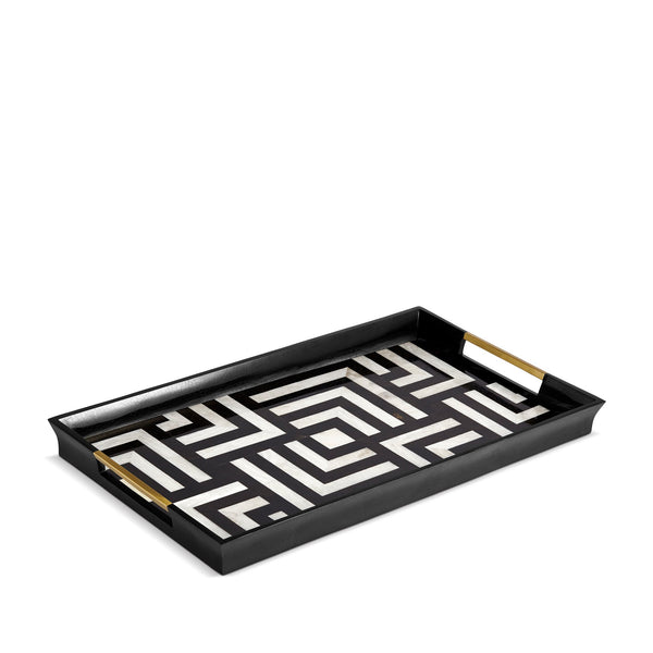 Large Dédale Rectangular Tray in Black and White - Geometric Patterns with Ornate Detailed Handles - Bold Craftmanship