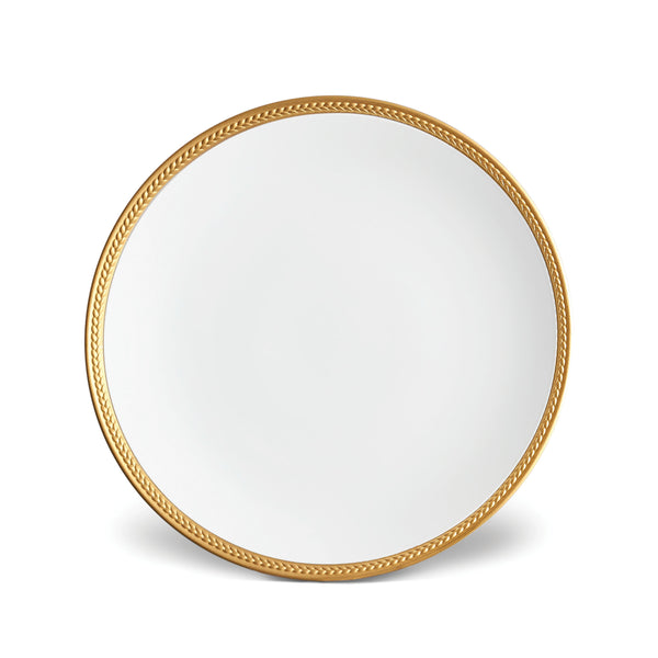 Soie Tressée Dinner Plate in Gold - Classic Yet Modern Design Made of Limoges Porcelain Creates a Contemporary Look on an Ancient Shape