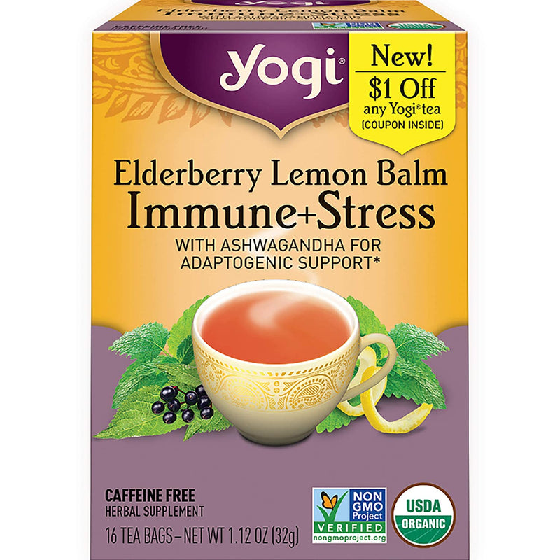 Immune+Stress, Elderberry Lemon Balm, Organic