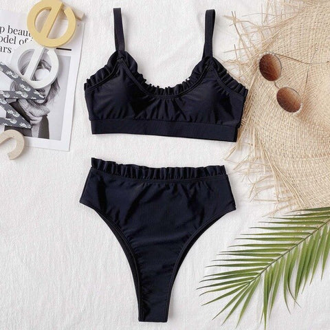 Push Up Swimsuits For Women Bikini High Waisted Bikini Set Ruffle Swimwear Summer Swimming Suits Beachwear Bathing Suit Biquini