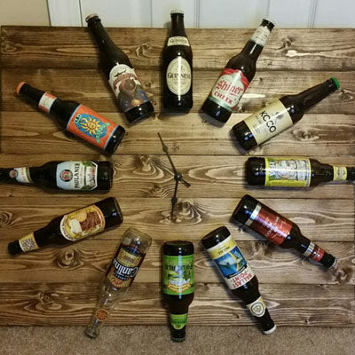 Beer bottle wall clock for man cave