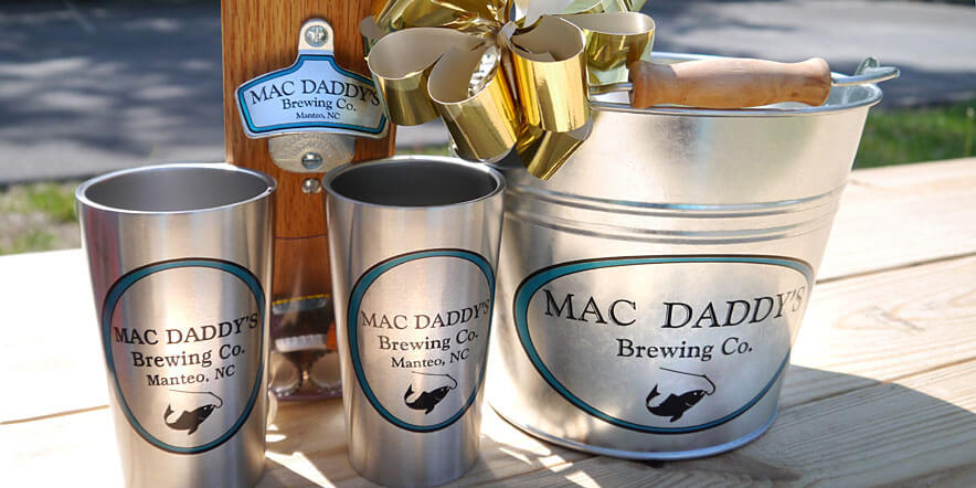 Gift set with bottle opener, barware, and beer bucket