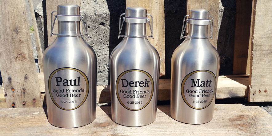 Three personalized growlers