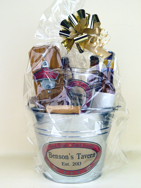 Personalized Tavern-Style Gift Basket, Leather Pouch