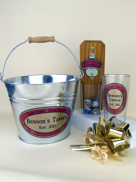 Personalized Tavern-Style Gift Basket, Clear Pouch
