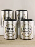 Set of 4 Personalized Stainless Steel Can Coolers