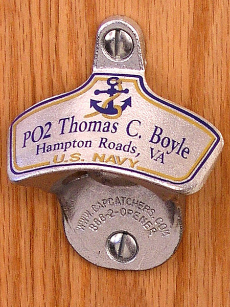 Personalized Us Navy Wall Mount Bottle Opener